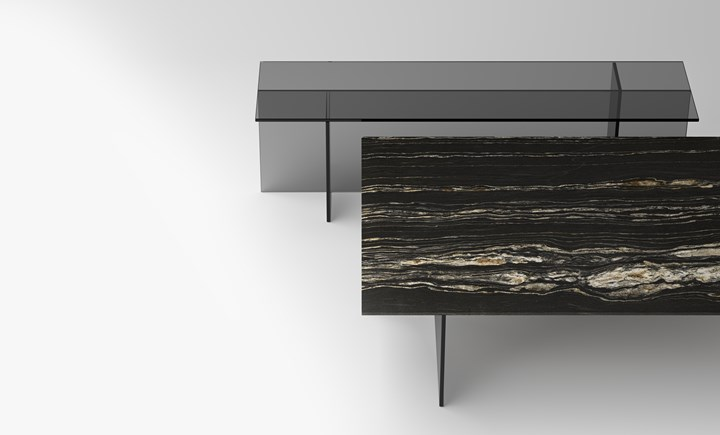 Низкий столик и консоль SESTANTE STONE, дизайн Эмилио Нанни