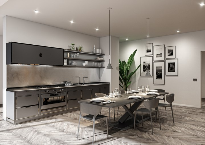 Коллекция кухонь Officine Gullo Contemporanea: серый и чёрный полированный никель